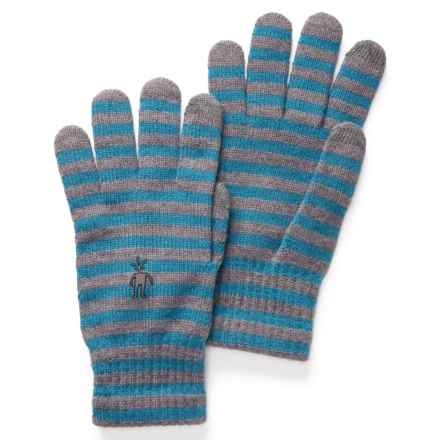 SmartWool Striped Liner Gloves - Merino Wool, Touchscreen Compatible (For Men and Women) in Glacial Blue Heather - Closeouts