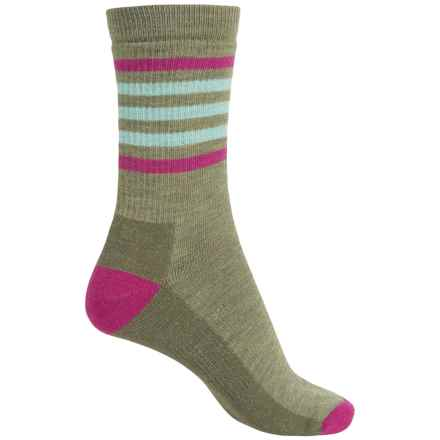 SmartWool Striped Midweight Hike Socks - Merino Wool, Crew (For Women) in Light Loden/Berry - Closeouts