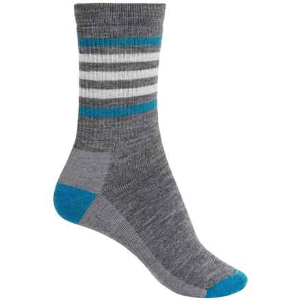 SmartWool Striped Midweight Hike Socks - Merino Wool, Crew (For Women) in Medium Gray - Closeouts