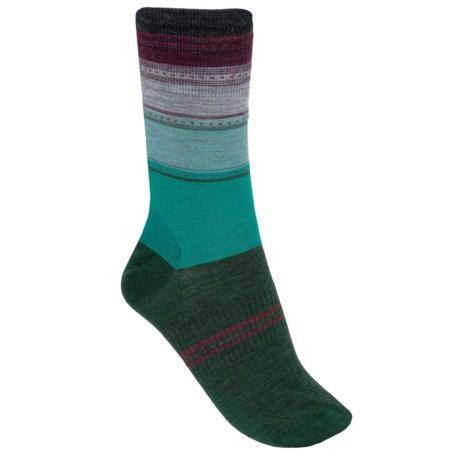 SmartWool Sulawesi Stripe Socks - Lightweight, Merino Wool (For Men and Women) in Dark Spearmint