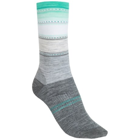 SmartWool Sulawesi Stripe Socks - Lightweight, Merino Wool (For Men and Women) in Light Gray Heather