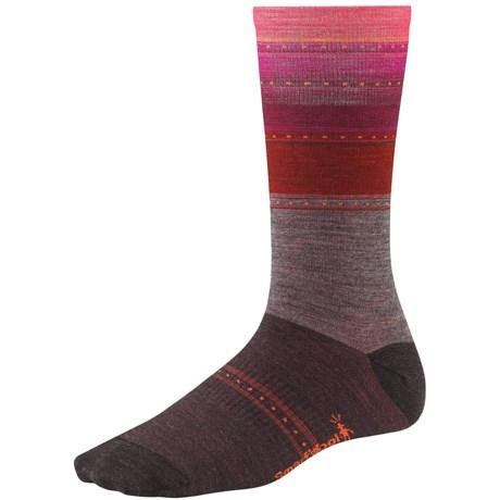 SmartWool Sulawesi Stripe Socks - Lightweight, Merino Wool (For Men and Women) in Taupe Heather