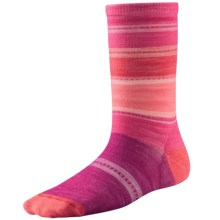 SmartWool Sulawesi Stripe Socks - Merino Wool, Crew (For Big Girls) in Berry - Closeouts
