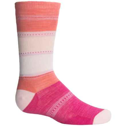 SmartWool Sulawesi Stripe Socks - Merino Wool, Crew (For Big Girls) in Bright Pink - Closeouts