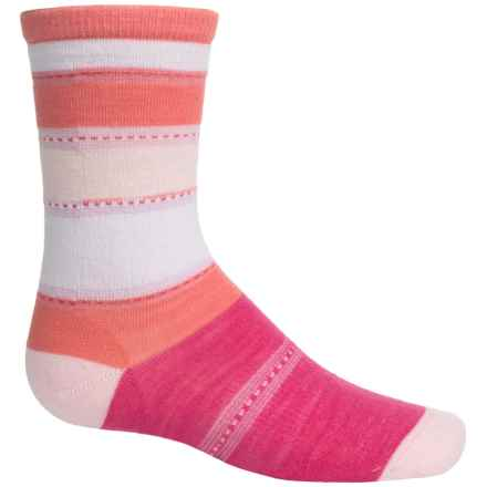 SmartWool Sulawesi Stripe Socks - Merino Wool, Crew (For Big Girls) in Bright Pink - 2nds