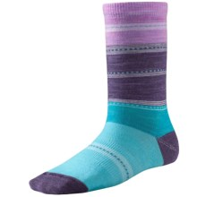 SmartWool Sulawesi Stripe Socks - Merino Wool, Crew (For Big Girls) in Light Capri - Closeouts