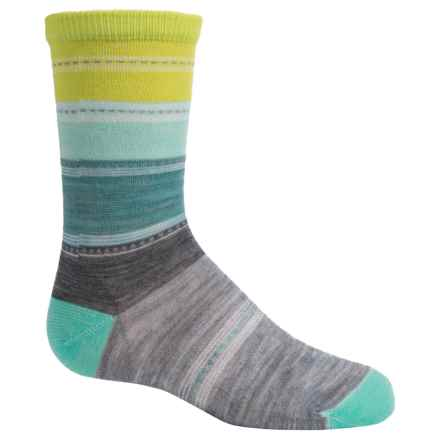 SmartWool Sulawesi Stripe Socks - Merino Wool, Crew (For Big Girls) in Light Gray Heather - Closeouts