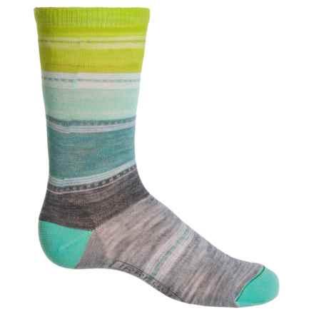 SmartWool Sulawesi Stripe Socks - Merino Wool, Crew (For Big Girls) in Light Grey Heather - 2nds