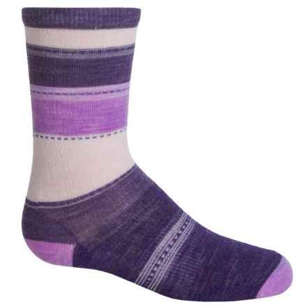 SmartWool Sulawesi Stripe Socks - Merino Wool, Crew (For Big Girls) in Mountain Purple Heather - 2nds
