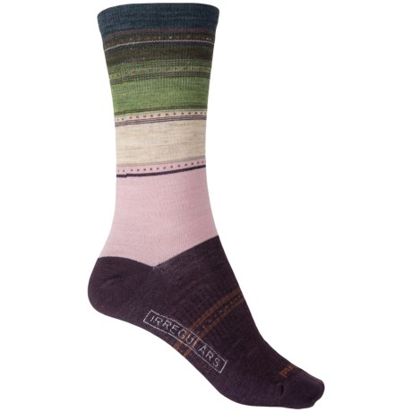SmartWool Sulawesi Stripe Socks - Merino Wool, Crew (For Women) in Bordeaux Heather