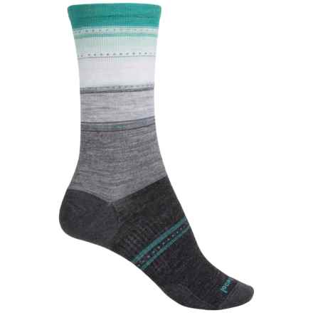 SmartWool Sulawesi Stripe Socks - Merino Wool, Crew (For Women) in Charcoal Heather/Mint - Closeouts