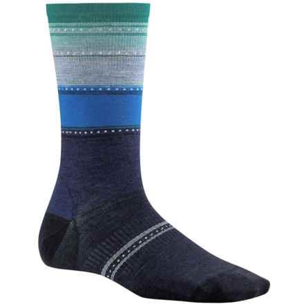 SmartWool Sulawesi Stripe Socks - Merino Wool, Crew (For Women) in Ink Heather - 2nds