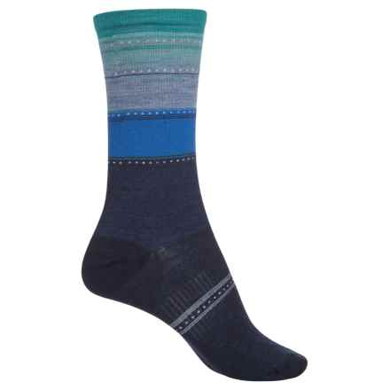 SmartWool Sulawesi Stripe Socks - Merino Wool, Crew (For Women) in Ink Heather - Closeouts