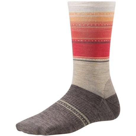 SmartWool Sulawesi Stripe Socks - Merino Wool, Crew (For Women) in Oatmeal Heather