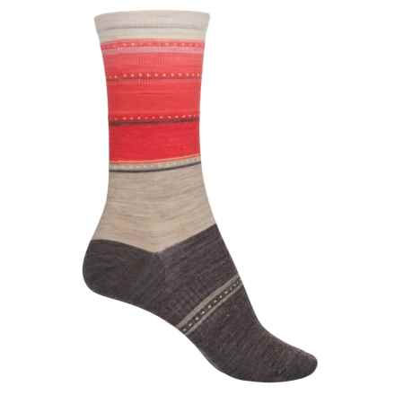 SmartWool Sulawesi Stripe Socks - Merino Wool, Crew (For Women) in Oatmeal Heather - Closeouts