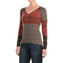 SmartWool Sulawesi Sweater - Merino Wool, V-Neck (For Women) in Taupe Heather - Closeouts