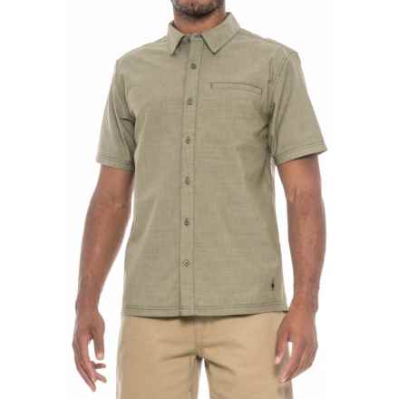 SmartWool Summit County Chambray Shirt - Merino Wool, Organic Cotton, Short Sleeve (For Men) in Light Loden - Closeouts
