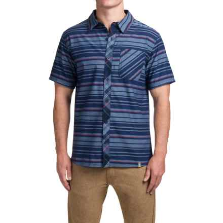 SmartWool Summit County Stripe Shirt - Merino Wool-Organic Cotton, Short Sleeve (For Men) in Ink - Closeouts