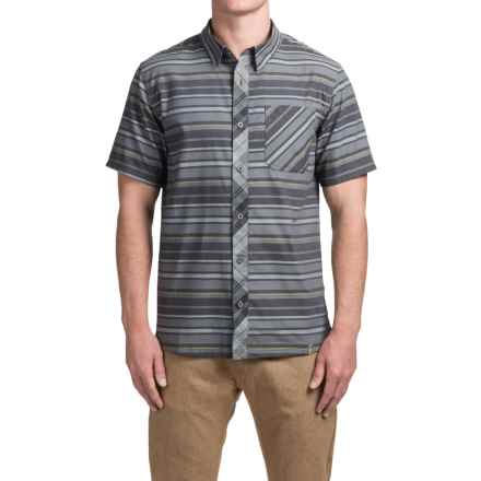 SmartWool Summit County Stripe Shirt - Merino Wool-Organic Cotton, Short Sleeve (For Men) in Medium Gray - Closeouts