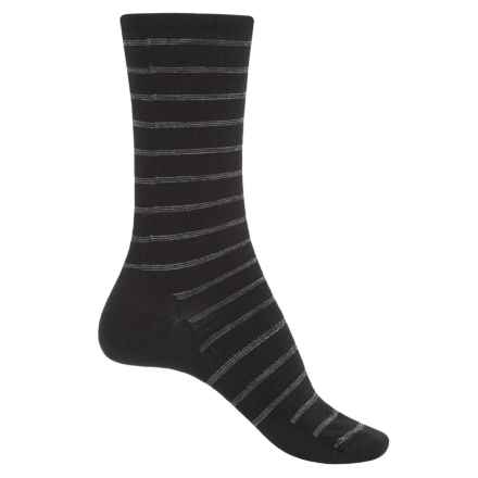 SmartWool Sunset Striped Socks - Merino Wool, Crew (For Women) in Black - Closeouts