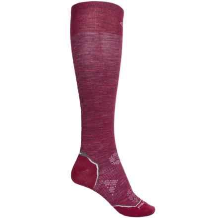 SmartWool Surefoot PhD Ski Socks - Merino Wool, Over the Calf (For Men and Women) in Wine Heather - 2nds
