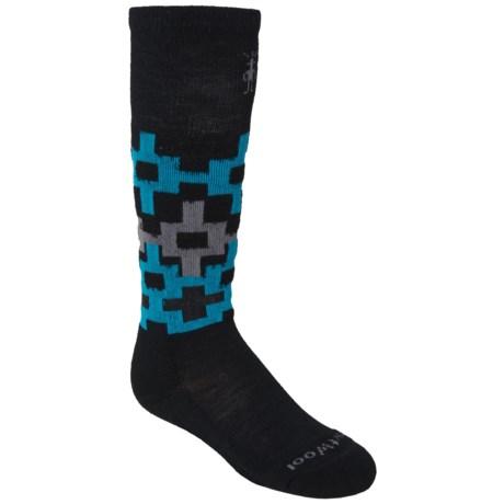 SmartWool SW110 Snowboard Socks - Merino Wool, Over-the-Calf (For Boys) in Black/Multi Squares