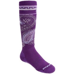 SmartWool SW111 Snowboard Socks - Merino Wool, Over-the-Calf (For Girls) in Purple Dahlia