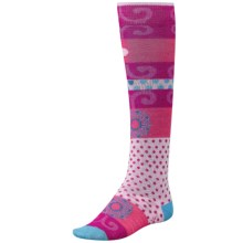 SmartWool Tap Dot Socks - Merino Wool, Over the Calf (For Little and Big Girls) in Impatient Pink - 2nds