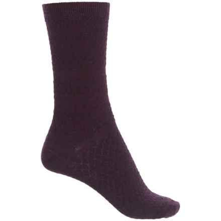 SmartWool Texture Socks - Merino Wool, Crew (For Women) in Bordeaux Heather - Closeouts