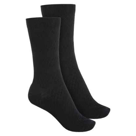 SmartWool Textured Merino Wool Socks - 2-Pack, Crew (For Women) in Black - Closeouts