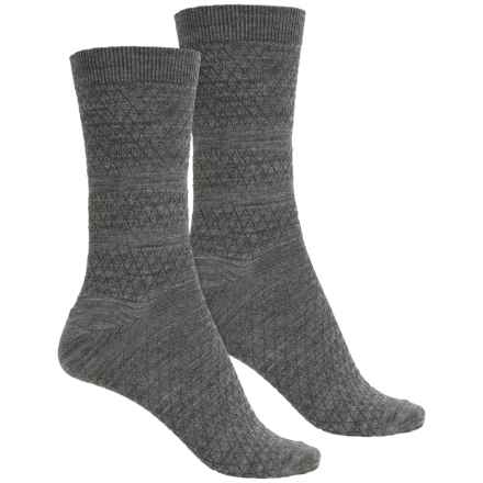 SmartWool Textured Merino Wool Socks - 2-Pack, Crew (For Women) in Medium Gray - Closeouts