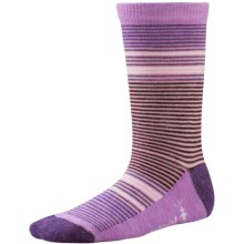 SmartWool Thinscape Stripe Socks - Merino Wool, Crew (For Little and Big Girls) in Desert Purple Heather - Closeouts