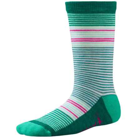 SmartWool Thinscape Stripe Socks - Merino Wool, Crew (For Little and Big Girls) in Mint - Closeouts