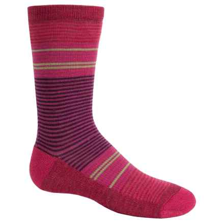 SmartWool Thinscape Stripe Socks - Merino Wool, Crew (For Little and Big Girls) in Punch - Closeouts