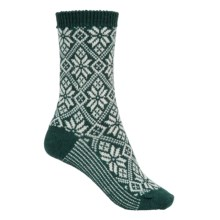 SmartWool Traditional Snowflake Socks - Merino Wool, Midweight, Crew (For Women) in Bottle Green Heather - Closeouts