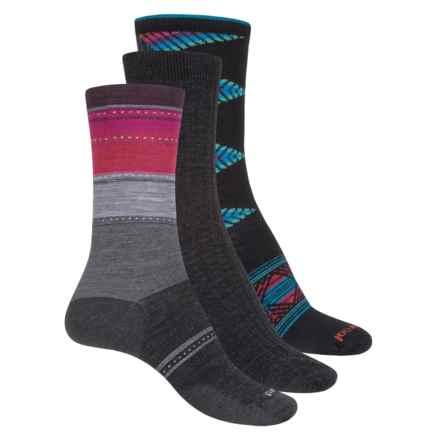 SmartWool Trio 2 Socks - 3-Pack, Merino Wool, Crew (For Women) in Charcoal Multi - Closeouts