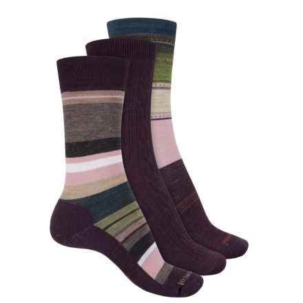 SmartWool Trio Socks - 3-Pack, Merino Wool, Crew (For Women) in Purple/Multi Stripe - Closeouts