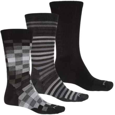 SmartWool Ultra Comfy Trio 2 Socks - Merino Wool, Crew (For Men) in Black/Multi Check/Multi Stripe - Closeouts