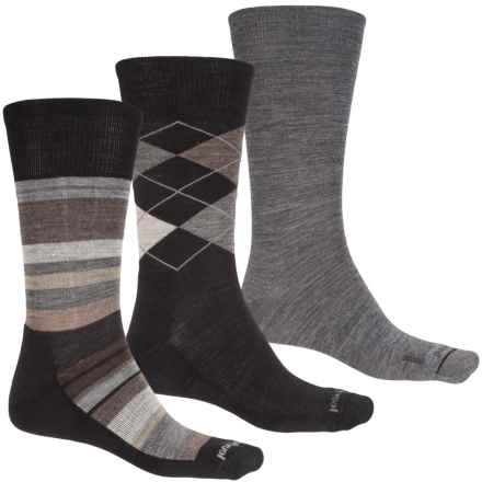 SmartWool Ultra Comfy Trio 3 Socks - Merino Wool, Crew (For Men) in Grey Heather/Black Stripe/Black Argyle - Closeouts