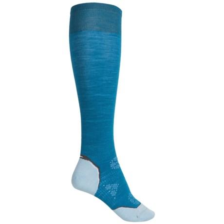SmartWool Ultralight PhD Ski Socks - Merino Wool, Over the Calf (For Women) in Arctic Blue