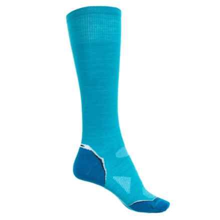 SmartWool Ultralight PhD Ski Socks - Merino Wool, Over the Calf (For Women) in Medium Blue/Arctic Blue - Closeouts