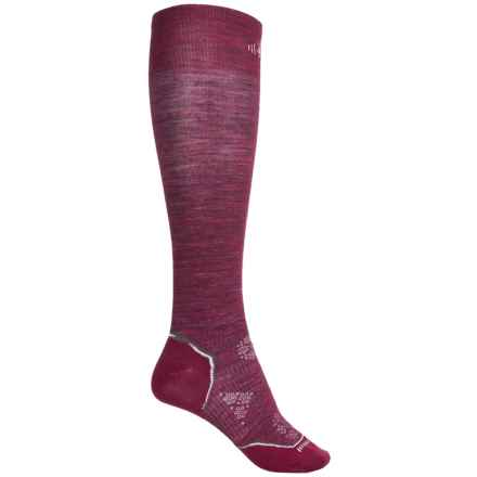 SmartWool Ultralight PhD Ski Socks - Merino Wool, Over the Calf (For Women) in Wine Heather - Closeouts