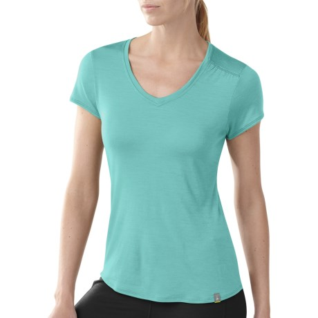 SmartWool V-Neck T-Shirt - Short Sleeve (For Women) in Mineral