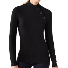 SmartWool Willow Lake Button Mock Neck Sweater - Merino Wool, Long Sleeve (For Women) in Black - Closeouts