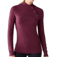 SmartWool Willow Lake Button Mock Neck Sweater - Merino Wool, Long Sleeve (For Women) in Wine Heather - Closeouts