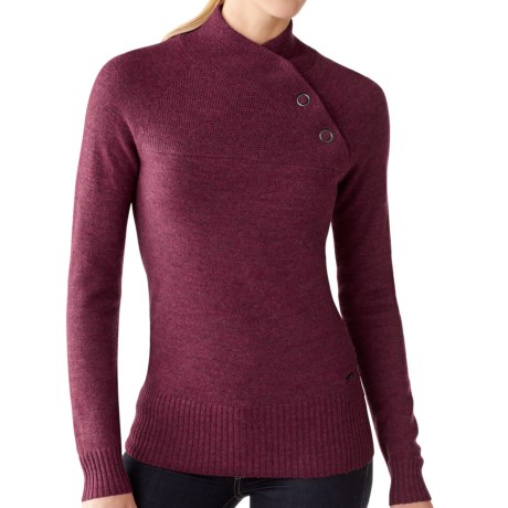 SmartWool Willow Lake Button Mock Neck Sweater - Merino Wool, Long Sleeve (For Women) in Wine Heather