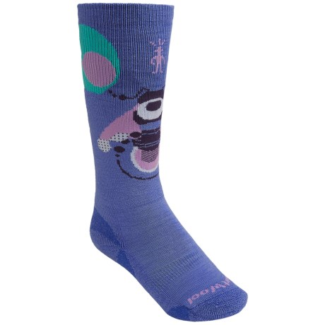 SmartWool Wintersport Bee Socks - Merino Wool, Over-the-Calf (For Kids and Youth) in Polar Purple