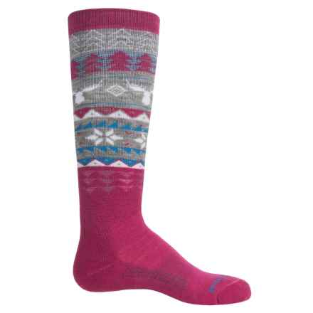 SmartWool Wintersport Fair Isle Moose Socks - Merino Wool, Crew (For Little and Big Girls) in Berry - 2nds