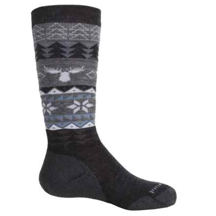SmartWool Wintersport Fair Isle Moose Socks - Merino Wool, Over the Calf (For Little and Big Girls) in Charcoal - Closeouts