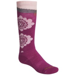SmartWool Wintersport Floral Socks - Merino Wool, Over-the-Calf (For Girls) in Berry